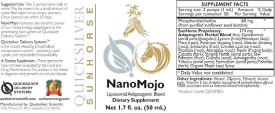 Sun Horse Energy NanoMojo Liposomal Adaptogenic Blend Dietary Supplement Label