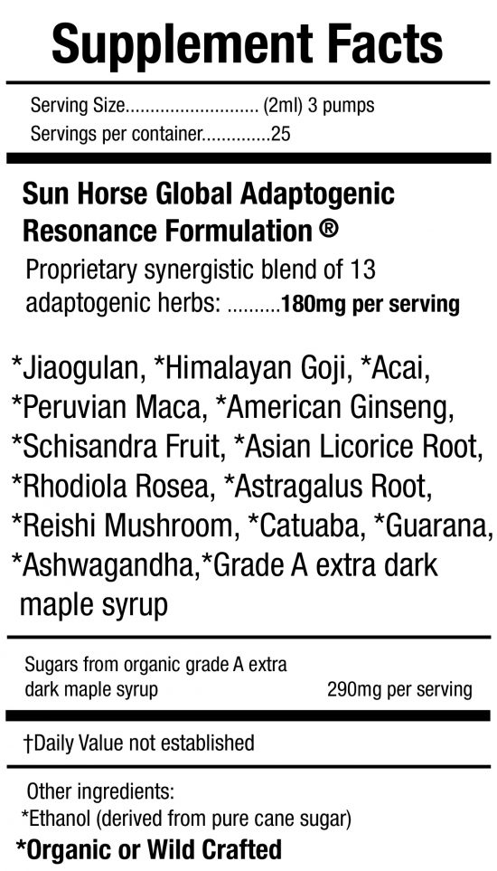 Sun Horse Energy Ultimate Energy Adaptogenic Power Formula 4 Everyone Supplement Facts